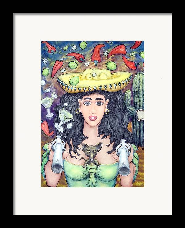 Senorita Framed Print featuring the painting Hot Chilli's by Eddie Sargent