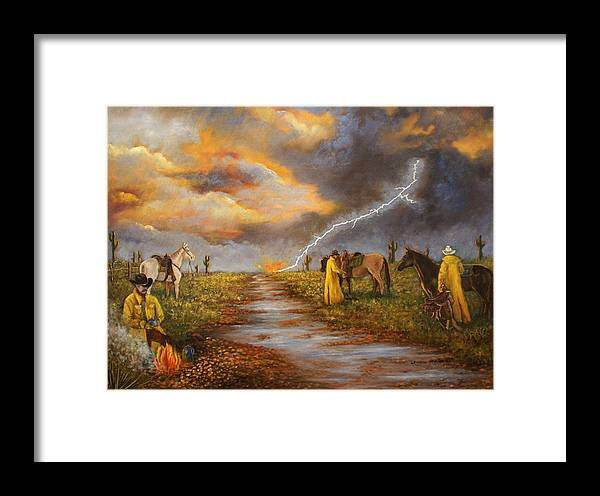 Desert Storm Framed Print featuring the painting Hot Coffee And Wet Bedroll by Lucille Owen-Huston