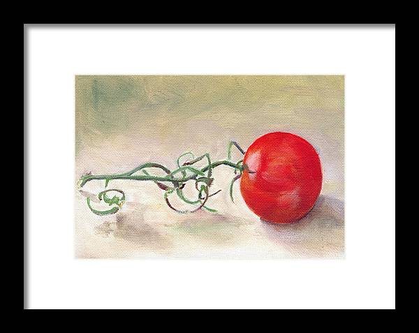 Food Framed Print featuring the painting Hot-house Tomato by Sarah Lynch
