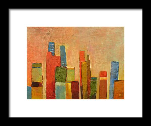 Abstract Cityscape Framed Print featuring the painting Hot Manhattan by Habib Ayat