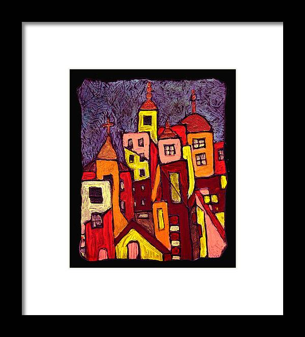 City Scapes Framed Print featuring the painting Hot Night In The City by Wayne Potrafka