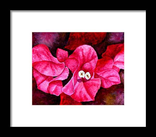 Oil Framed Print featuring the painting Hot Pink Bougainvillea by Darla Brock