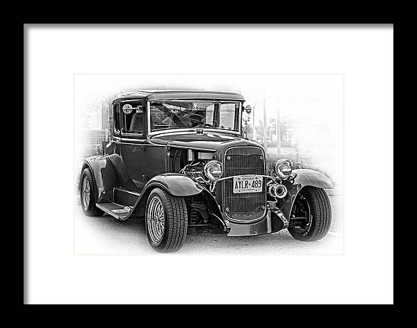 Hot Rod Framed Print featuring the photograph Hot Rod - Vignette Bw by Steve Harrington
