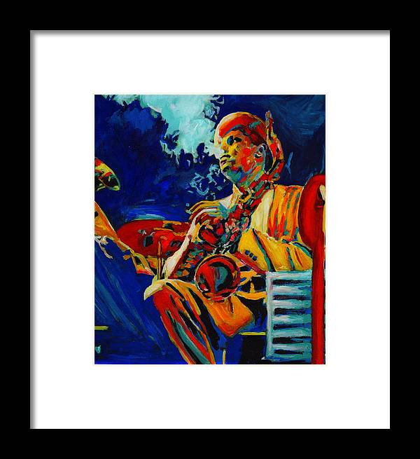 Blues Framed Print featuring the painting Hot Sax by Vel Verrept