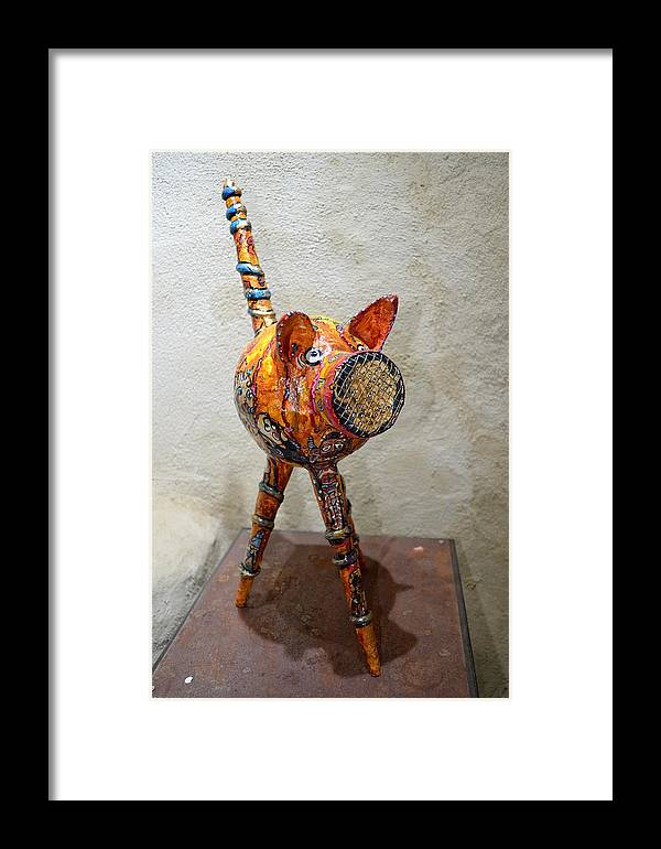 Arts Singuliers Sculpture Framed Print featuring the sculpture Hototo Kachina by Kitoo Wikitoo Calaudi