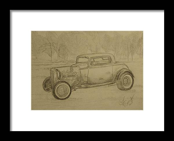 Antique Car Framed Print featuring the painting Hotrod 1934 Ford Coupe by Cary Singewald
