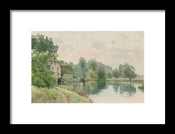 Landscape Framed Print featuring the painting Houghton Mill On The River Ouse by William Fraser Garden