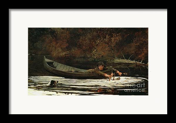 Hound And Hunter Framed Print featuring the painting Hound And Hunter by Winslow Homer