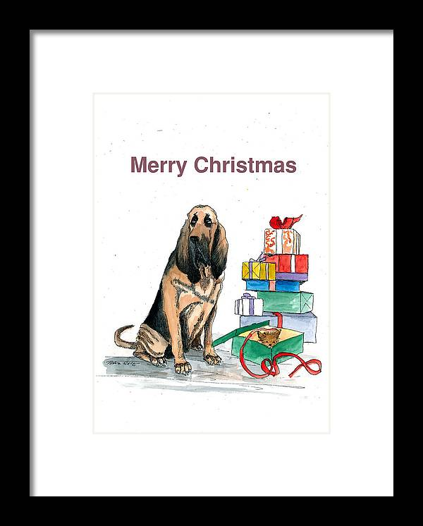 Animal Framed Print featuring the painting Hounddog Christmas by Petra Stephens