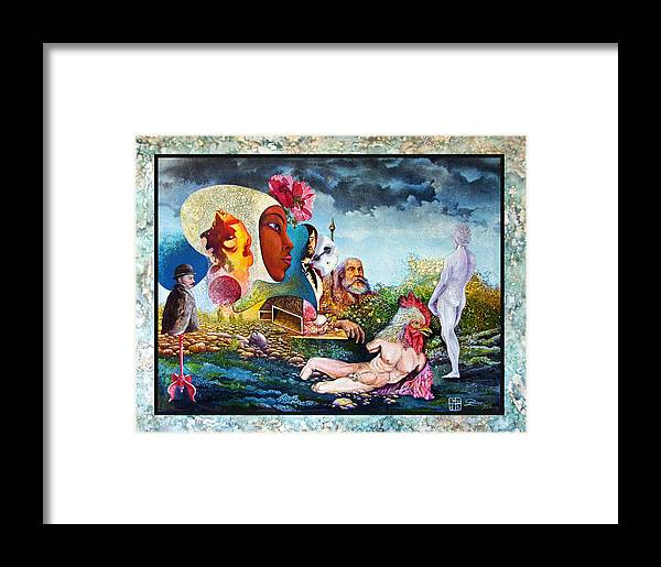 Surrealism Framed Print featuring the mixed media Hour Of The Cock by Otto Rapp