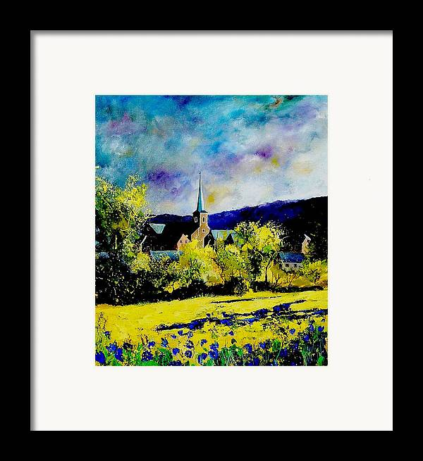 Poppies Framed Print featuring the painting Hour Village Belgium by Pol Ledent