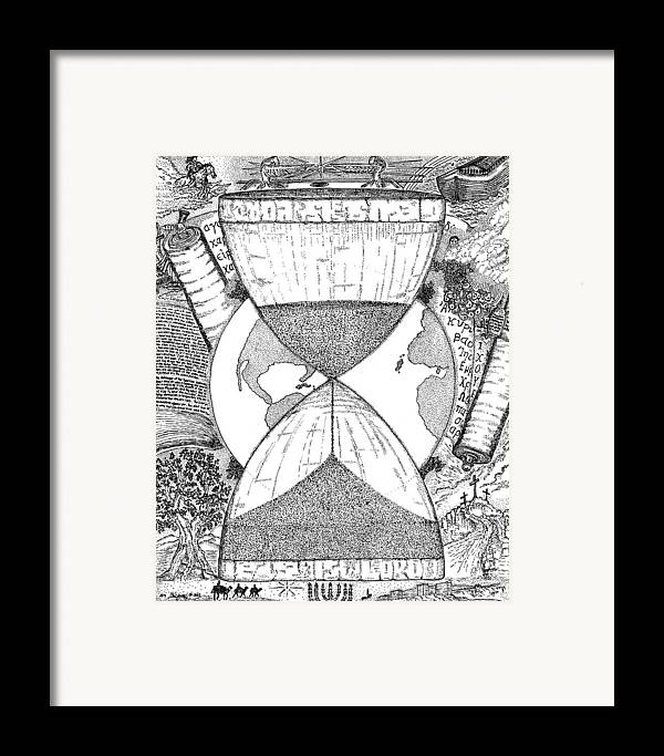 Mccarthy Art Framed Print featuring the drawing Hourglass by Glenn McCarthy Art and Photography