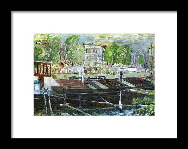 Amsterdam House Boat Canal Trees Houses Sky Water Thunderstorm Framed Print featuring the painting House Boat In Amsterdam by Joan De Bot