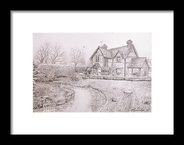 House Framed Print featuring the drawing House By Lake by Kgorometja Mokholoane