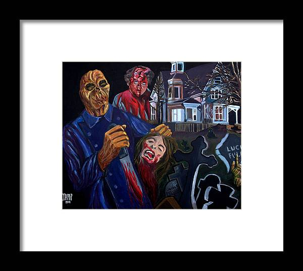 Dr.freudstein Framed Print featuring the painting House By The Cemetery by Jose Mendez