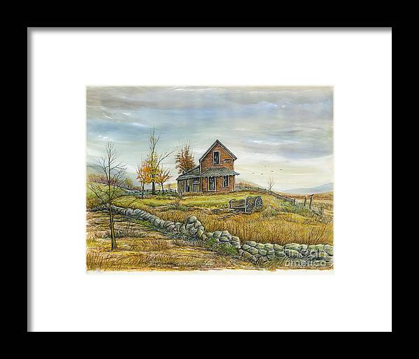 Landscape Framed Print featuring the painting House By The Rock Wall by Samuel Showman