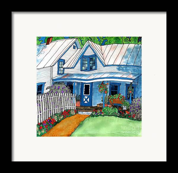Church Framed Print featuring the painting House Fence And Flowers by Linda Marcille