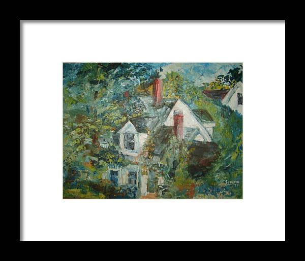 Landscape Trees House Framed Print featuring the painting House In Gorham by Joseph Sandora Jr