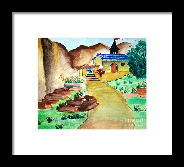 Hills Framed Print featuring the painting House In Hills by Tanmay Singh
