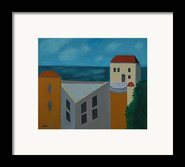 Arab Jaffa Deascape Framed Print featuring the painting House In Jaffa by Harris Gulko