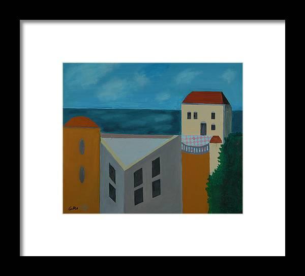 Arab Jaffa Deascape Framed Print featuring the painting House In Jaffa by Harris Gulko