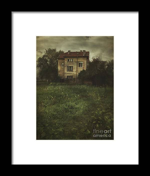 Window Framed Print featuring the photograph House In Storm by Mythja Photography