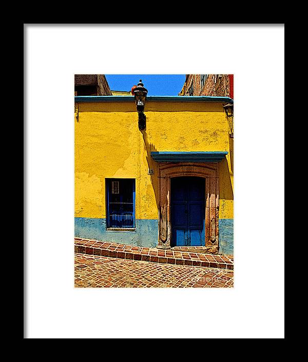 Darian Day Framed Print featuring the photograph House In Yellow And Blue by Mexicolors Art Photography
