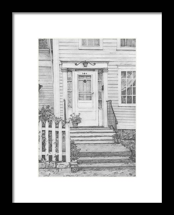 Old House Portrait Framed Print featuring the drawing House On Nicollet Island by Sue Olson