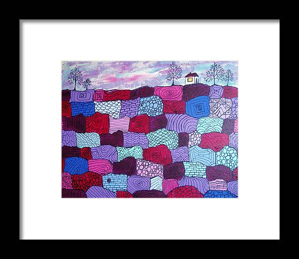 Folk Art Framed Print featuring the painting House On Top Of Patchwork Hill by Wayne Potrafka