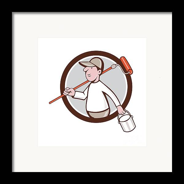 85ae5ea6870 House Painter Paint Roller Can Circle Cartoon Framed Print. House Painter  Paint. House Painter Paint Roller Retro Digital Art by Aloysius
