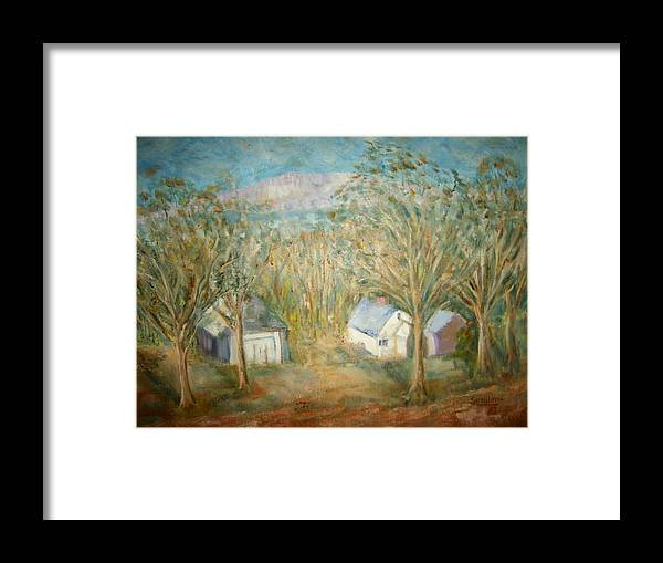 Landscape Mountain Trees Buildings Framed Print featuring the painting House With Overlooking Mountain by Joseph Sandora Jr