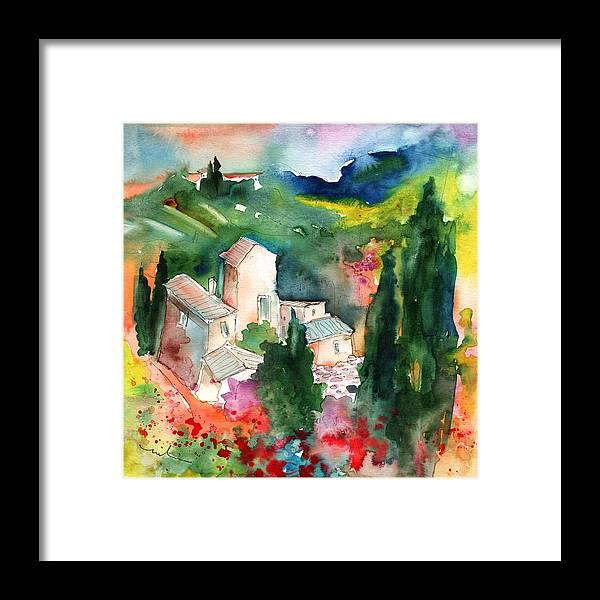 Landscapes Framed Print featuring the painting Houses In Montepulciano In Tuscany 01 by Miki De Goodaboom