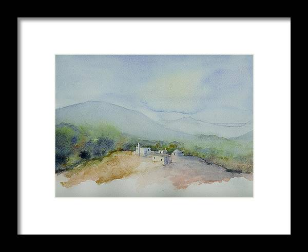 Landscape Framed Print featuring the painting Houses Overlooking The Sea by Husnu Konuk
