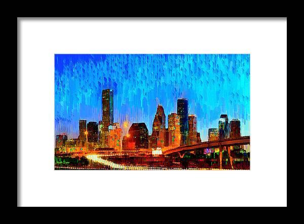 Houston Skyline Framed Print featuring the painting Houston Skyline 110 - Pa by Leonardo Digenio