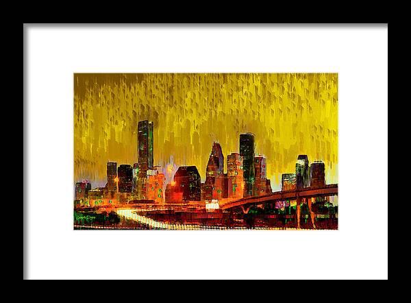 Houston Skyline Framed Print featuring the painting Houston Skyline 111 - Pa by Leonardo Digenio