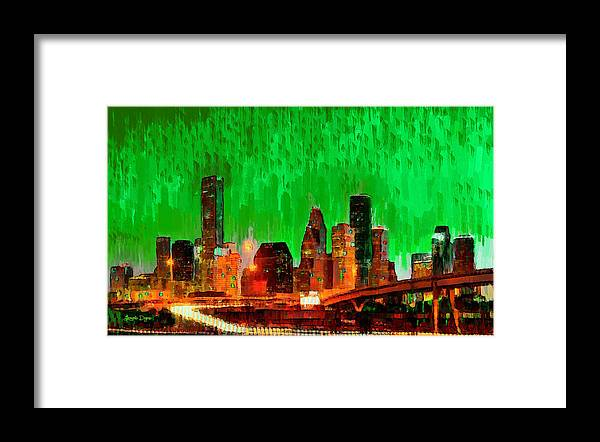 Houston Skyline Framed Print featuring the painting Houston Skyline 115 - Pa by Leonardo Digenio