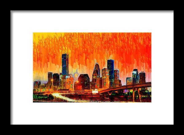 Houston Skyline Framed Print featuring the painting Houston Skyline 116 - Pa by Leonardo Digenio