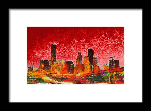 Houston Skyline Framed Print featuring the painting Houston Skyline 134 - Pa by Leonardo Digenio