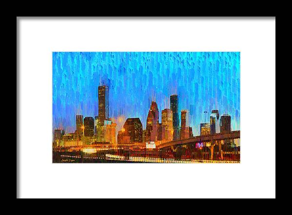 Houston Skyline Framed Print featuring the painting Houston Skyline 80 - Pa by Leonardo Digenio