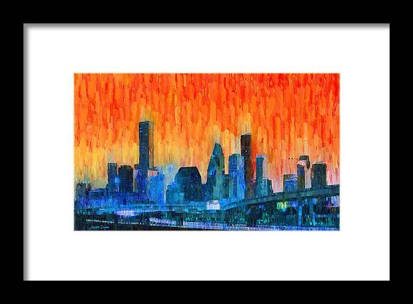 Houston Skyline Framed Print featuring the painting Houston Skyline 81 - Pa by Leonardo Digenio