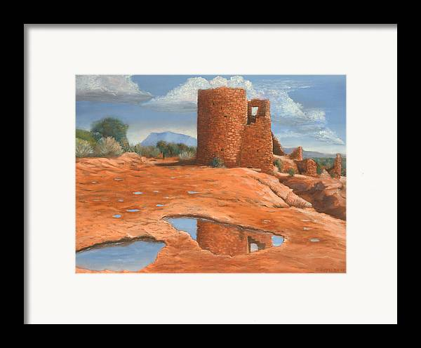 Anasazi Framed Print featuring the painting Hovenweep Reflection by Jerry McElroy