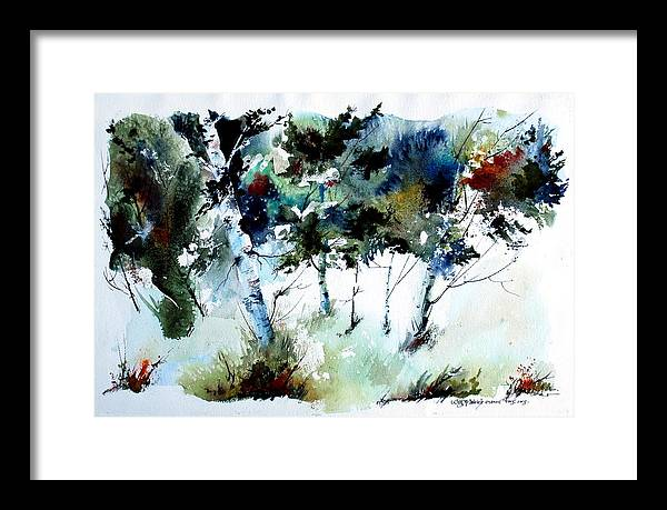 Abtract Forest Trees Framed Print featuring the painting How Green Was MY Valley by Wilfred McOstrich