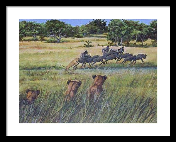 Africa Framed Print featuring the painting How Its Done by Audrie Sumner