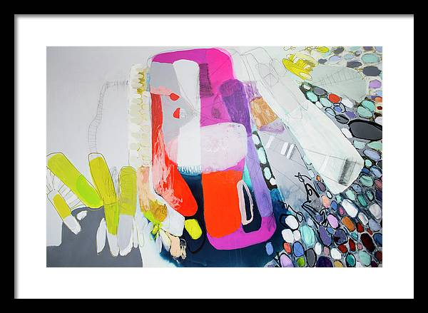 Abstract Framed Print featuring the painting How Many Fingers? by Claire Desjardins