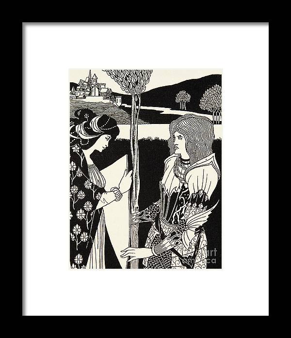 King Arthur Framed Print featuring the drawing How Morgan Le Fay Gave A Shield To Sir Tristran by Aubrey Beardsley