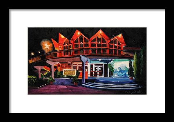 Asbury Art Framed Print featuring the painting Howard Johnsons At Night by Patricia Arroyo