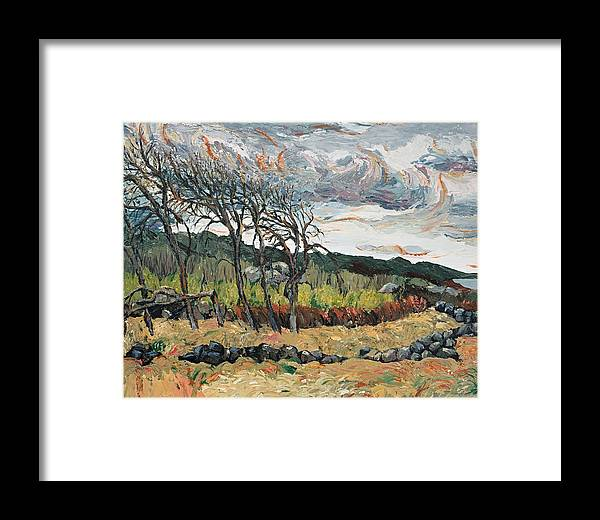 Landscape Framed Print featuring the painting Howling Winds Sweden by Art Nomad Sandra Hansen