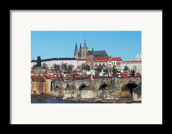 Rare Framed Print featuring the photograph Hradcany - Cathedral Of St Vitus And Charles Bridge by Michal Boubin