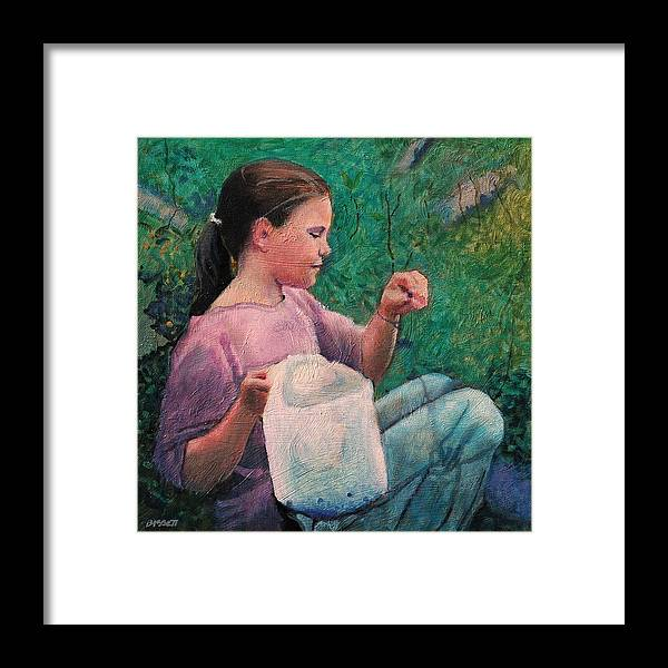 Girl Framed Print featuring the painting Huckleberry Picker by Robert Bissett
