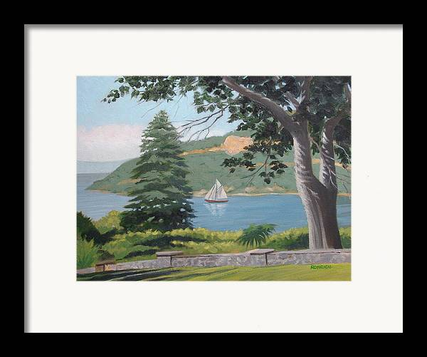 Landscape Waterscape Sail Boat Framed Print featuring the painting Hudson River Schooner by Robert Rohrich